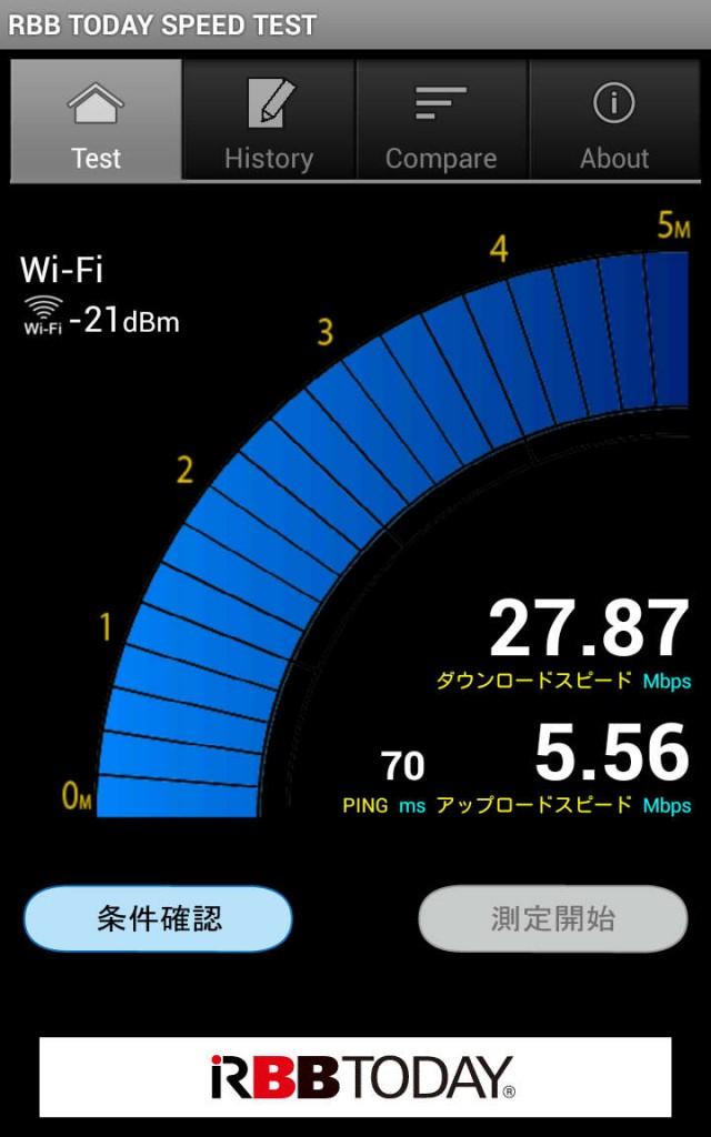 22時以降の自宅で計測。安定して20Mbpsを出してくれている。